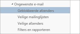 Schermafbeelding van Geblokkeerde afzenders in het menu Opties