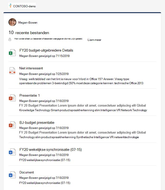 Het detailvenster met recente bestanden met meerdere bestanden.