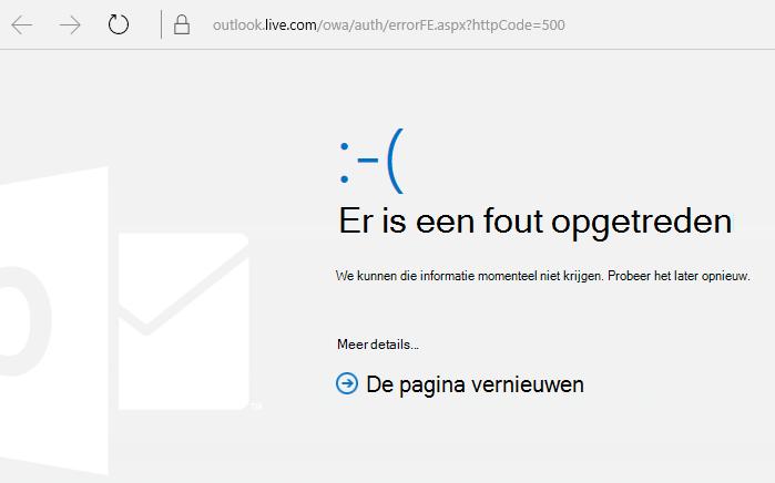 Outlook.com Foutbericht Er is een fout opgetreden 500