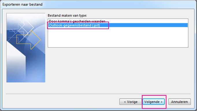 Kies Outlook-gegevensbestand (.pst) en kies Volgende
