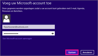 De pagina Een Microsoft-account toevoegen in Windows 8 Mail