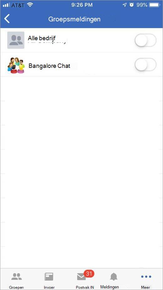 pagina iOS-Yammer voor het selecteren van de groepen waarop u meldingen wilt ontvangen