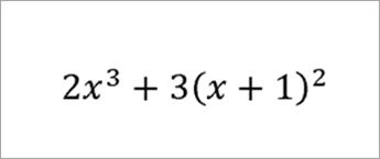 vergelijking: 2x naar de 3e plus 3 (x+1) kwadraat