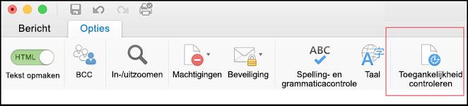 Schermafbeelding van de gebruikersinterface in Outlook voor het openen van Toegankelijkheidscontrole
