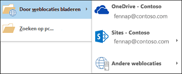 Weblocaties browsen in Outlook