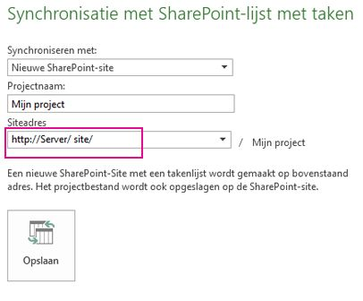 Afbeelding van synchroniseren met nieuwe SharePoint-site