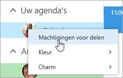 Schermafbeelding van het contextmenu voor Uw agenda met Machtigingen voor delen geselecteerd.