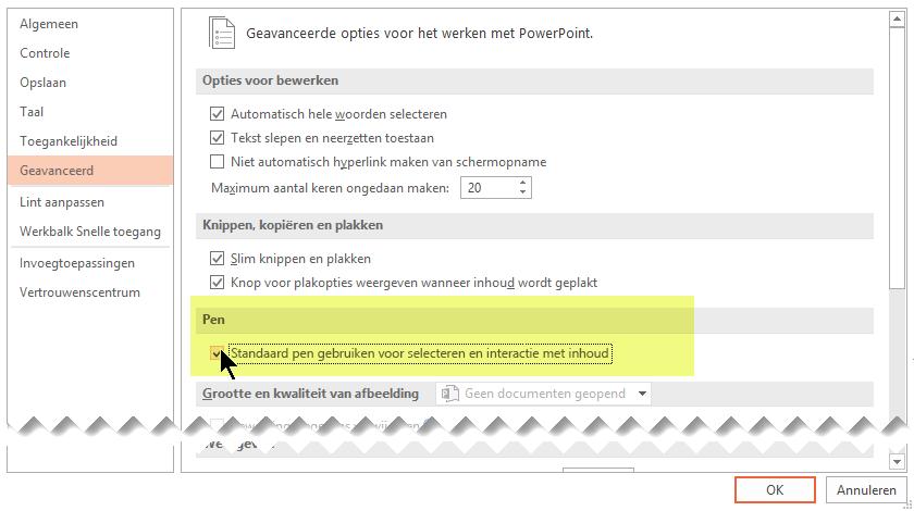 Als u wilt uitschakelen aanbrengen van inkt al dan niet standaard, selecteert u de optie 'Pen gebruiken om te selecteren en de inhoud wordt verwerkt al dan niet standaard'.