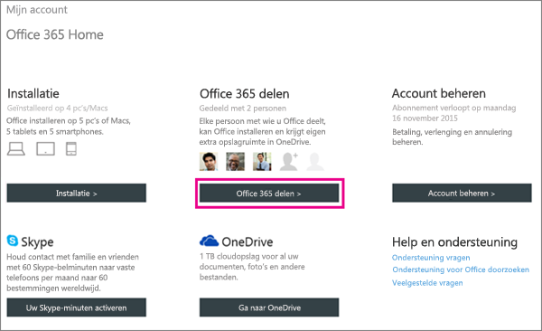 "Screen shot of the My Account page with the ""Share Office 365"" button selected."