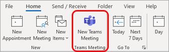 Nieuwe Teams-vergadering in Outlook