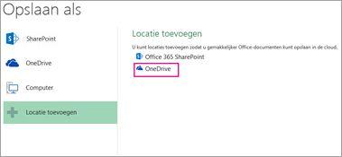 De optie voor het opslaan op OneDrive