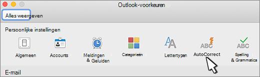 Knop AutoCorrectie voor Outlook voor Mac