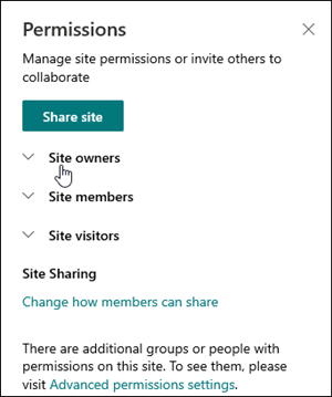 Vak Sitemachtigingen