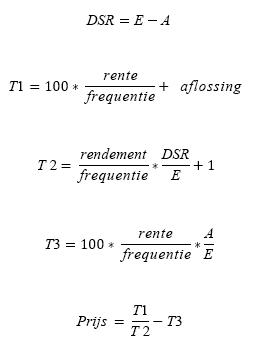 PRICE-formule wanneer N <= 1