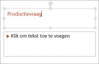 Hiermee wordt het toevoegen van tekst aan een tekstveld in PowerPoint weergegeven