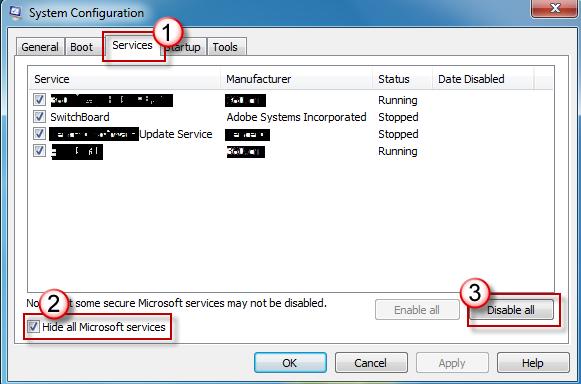 Systeemconfiguratie - Tabblad Services - Selectievakje Alle Microsoft-services verbergen ingeschakeld