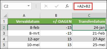 Dagen optellen of aftrekken van een datum met =A2+B2, waarbij A2 een datum is, en B2 is het aantal dagen dat u moet optellen of aftrekken.