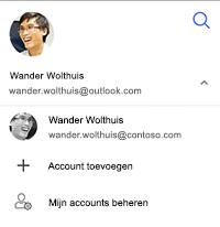 Schermafbeelding met de optie voor het overschakelen naar ander account, account toevoegen of mijn accounts beheren