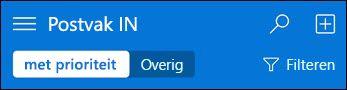 Bovenste navigatie voor kleine Outlook Web App