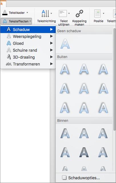 Opties voor schaduw in het menu Teksteffecten