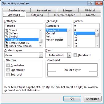 Opties voor het wijzigen van de lettertypen in opmerkingen