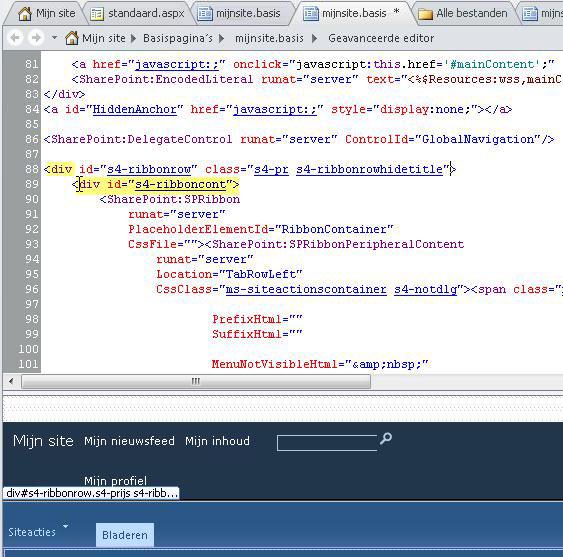 DIV-labels gebruiken bij het aanpassen van de basispagina van Mijn site.