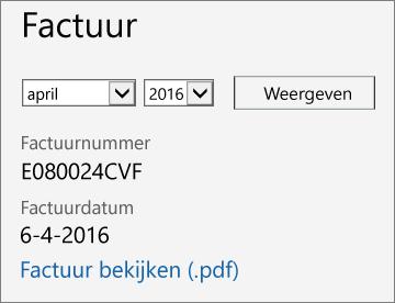 Schermafbeelding van de sectie Factuur van de pagina Details rekeningen in het Office 365-beheercentrum.