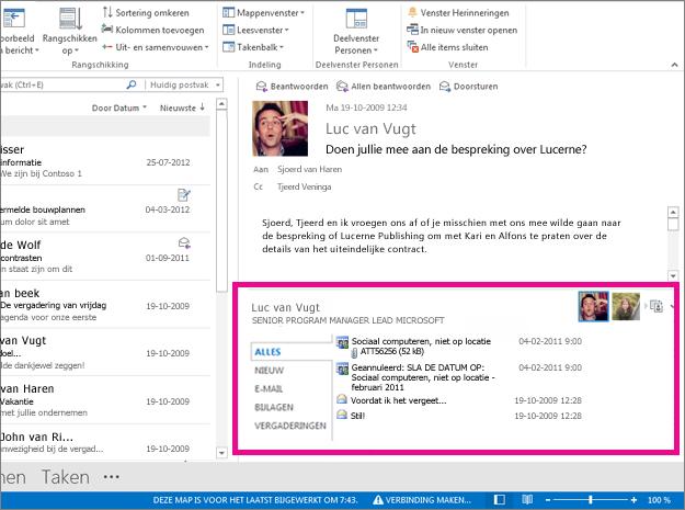 Outlook Connector voor sociale netwerk nadat dit is uitgevouwen