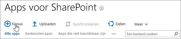 SPO App-catalogus SharePoint met de knop Nieuw gemarkeerd