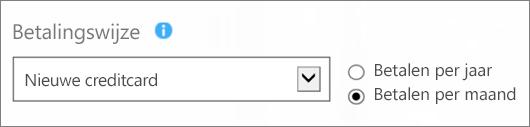 Schermafbeelding van de sectie 'Betalingsmethode' op de pagina 'Hoe wilt u betalen?', met de opties 'Nieuwe creditcard' en 'Per maand betalen' geselecteerd.