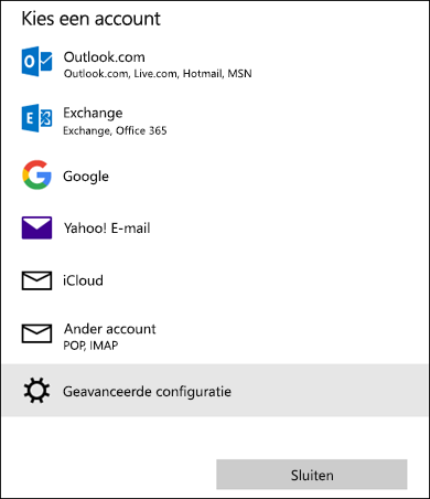 Dialoogvenster Kies een account, met een lijst met e-mailservices.