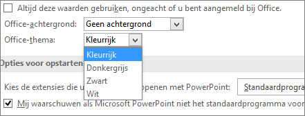 Toont opties voor Office-thema's in PowerPoint 2016