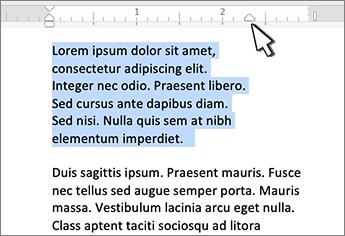 Markering voor rechts inspringen voor Mac