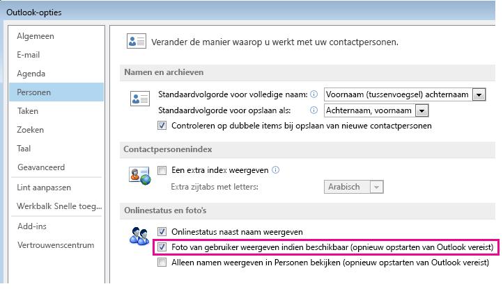 Schermafbeelding van het venster Opties van Outlook waarin het selectievakje Foto's van gebruikers weergeven is geselecteerd
