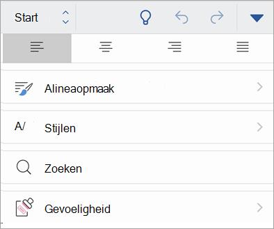 Schermafbeelding van de knop Gevoeligheid in Office voor iOS