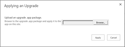Het dialoogvenster Upgrade toepassen
