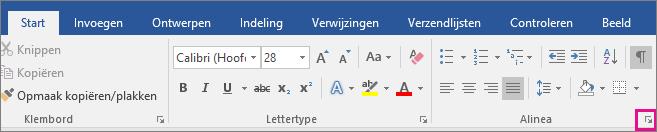 De pijl om het dialoogvenster alinea te openen is gemarkeerd op het tabblad Start.