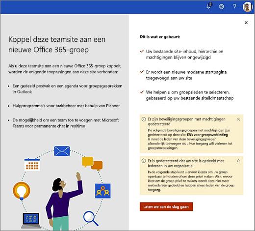In deze afbeelding ziet u het eerste scherm van de nieuwe wizard voor het maken van Office 365.