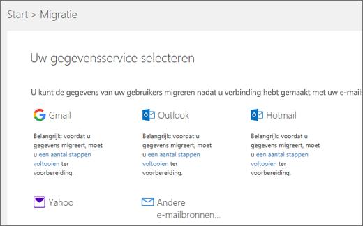 Uw e-mailservice selecteren
