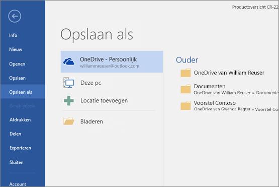 Opslaan als met OneDrive als standaard