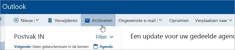Schermafbeelding van de knop Archiveren