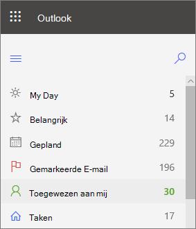 Schermafbeelding van het linker navigatieonderdeel voor taken in Outlook voor het web, dat wordt weergegeven nadat ze zijn gemarkeerd met een gemarkeerd e-mailadres