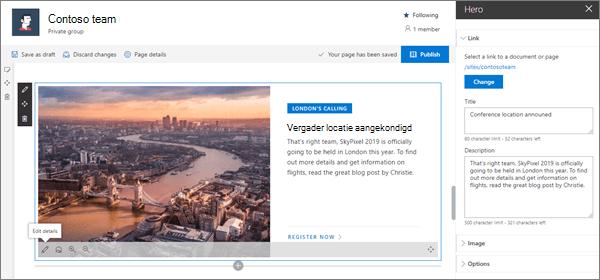 Het webonderdeel held van een voorbeeld van een moderne team site in SharePoint Online