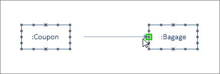 Berichten-shape met één uiteinde groen gemarkeerd en verbonden met levenslijn-shape