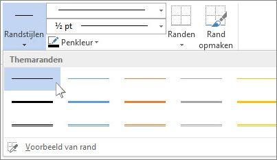 randstijlen voor tabellen