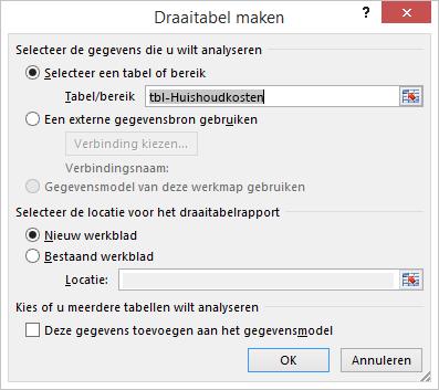 Excel-dialoogvenster Draaitabel maken