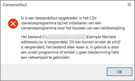 Dit is het foutbericht dat wordt weergegeven als het CSV-bestand onjuist ingedeelde gegevens bevat.