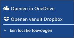 Afbeelding van Dropbox en OneDrive in de sectie Locaties van de Word Online-werkruimte