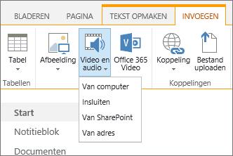 Schermafbeelding van het lint van SharePoint Online. Selecteer het tabblad Invoegen en vervolgens Video en audio om op te geven of u een bestand wilt toevoegen vanaf uw computer, een SharePoint-locatie, een webadres of via een ingesloten code.