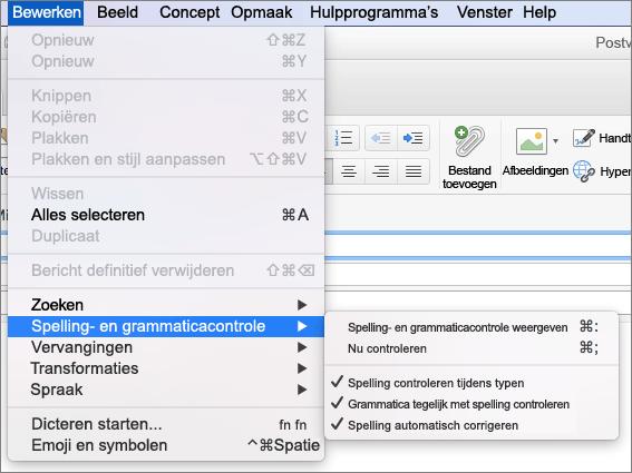 Opties in het menu Bewerken > Spelling en grammatica-menu